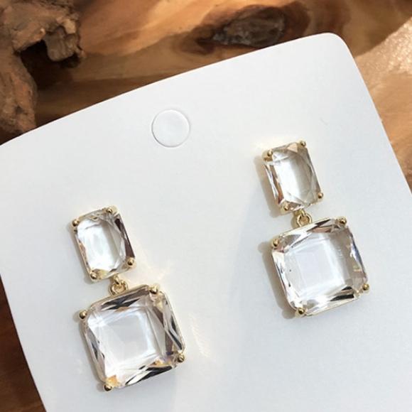 Chandelier Square Earrings Square Jewel Drop Earrings Gold Drop Earrings Square Statement Earrings